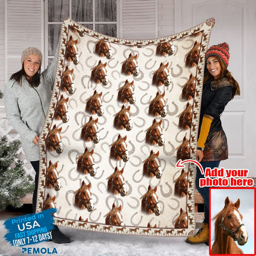 Pemola, blanket horse girl, personalized photo blankets, gifts for him, custom blankets, fleece blankets, picture blankets