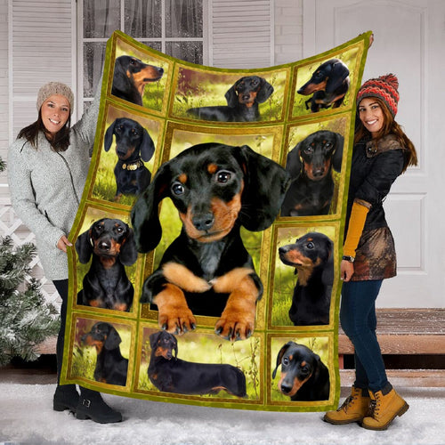Pemola - Dachshund puppy dog Black Fleece Blanket