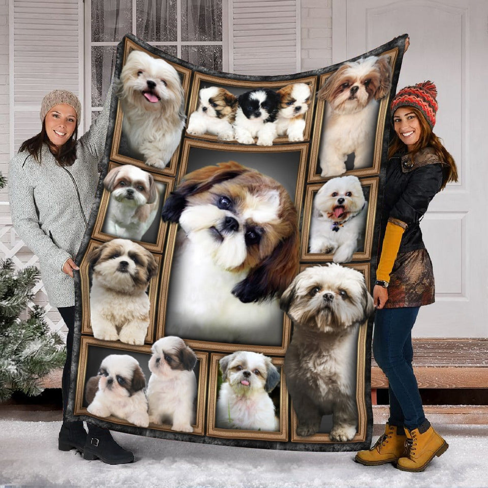 Pemola - Shih Tzu dog Fleece Blanket, animal blankets, blanket gift, girl dog blankets