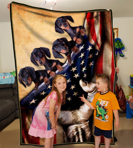 Pemola - Dachshund Puppies American Flag Fleece Blanket, Wiener dog blanket Gifts for mom