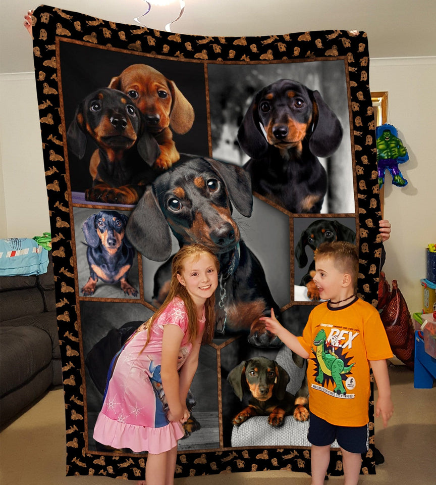 Pemola - Dachshunds Dog So Cute, Wiener dog, Sausage dog Fleece Blanket