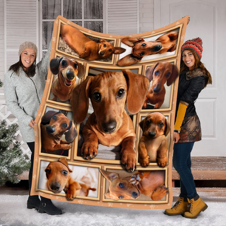 Pemola - Dachshund Dog puppy Red Fleece Blanket