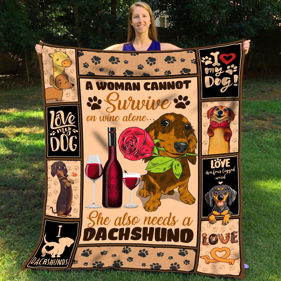 Pemola - Dachshund Fleece Blankets, daschund blanket, long haired dachshund blanket, Dog Fleece Blankets