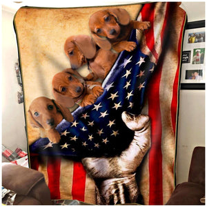 Pemola - Miniature dachshund Red Fleece Blanket, Dachshund American Flag blanket, Doxie  Christmas Presents Gift for mom