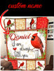Pemola - Cardinal Bird Custom Name Blanket, Red Cardinal Bird Personalized Blanket, Quotes I am Always With You Fleece Blanket
