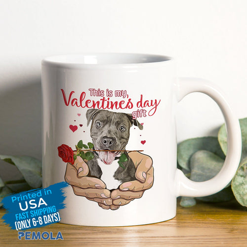 Pemola - Pitbull Dog Valentines Day Mugs, Funny Mug for Valentines Day