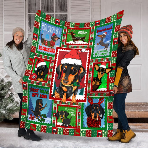 Pemola - Dachshund Dogs Xmas Fleece Blanket
