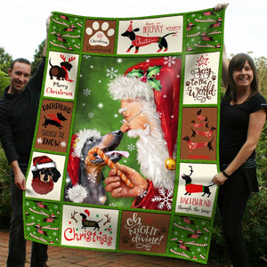 Pemola - Mini Dachshund Christmas decorations, Dachshund puppies Blanket Christmas Gift For Your Family