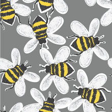 Load image into Gallery viewer, Grey Buzzy Bees Rompers