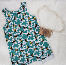 Load image into Gallery viewer, Turquoise Buzzy Bees Shortie Romper