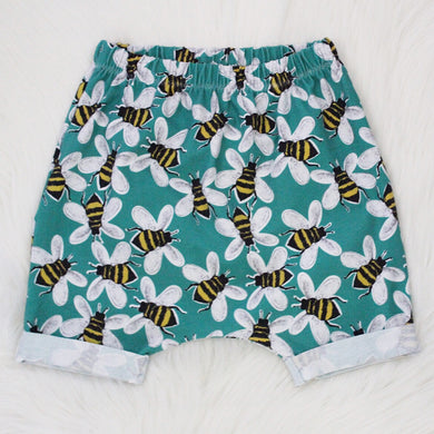 Turquoise Buzzy Bees Shorts