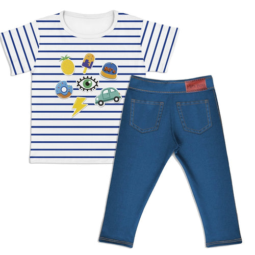 Combo Camiseta Cool Boy Kids + Jeans Azul Escuro