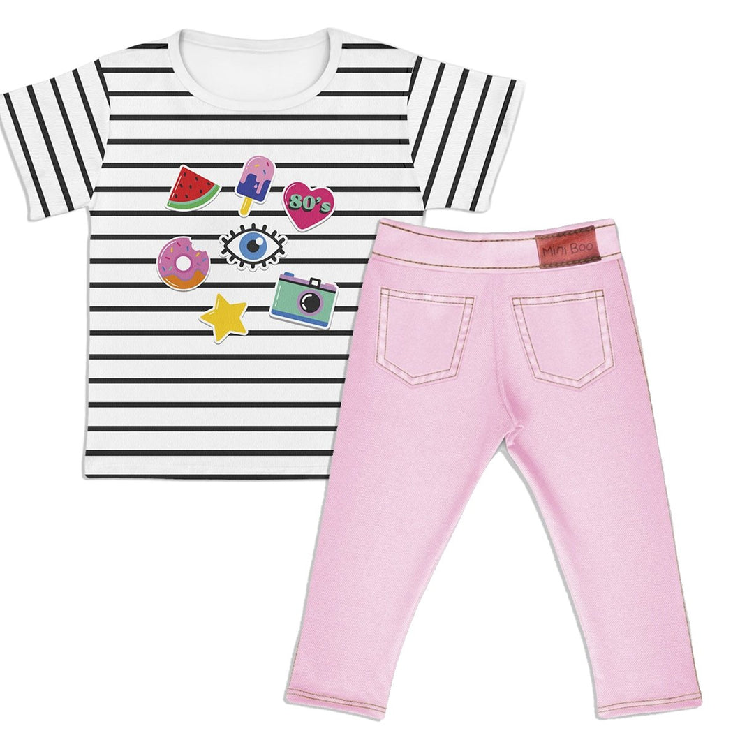 Combo Camiseta Cool Girl Kids + Jeans Rosa