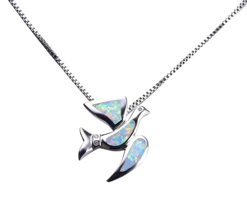 Beautiful Bird White Opal Necklace 925 Sterling Silver
