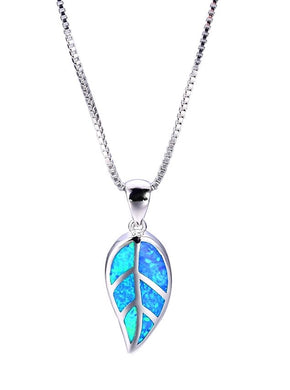 Leaf Design Blue Opal Necklace