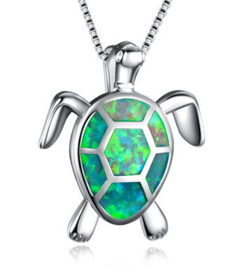 Beautiful Green Fire Opal Turtle Necklace