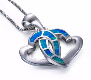 Infinity Blue Fire Opal Double Heart