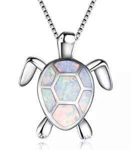 Beautiful White Fire Opal Turtle Necklace