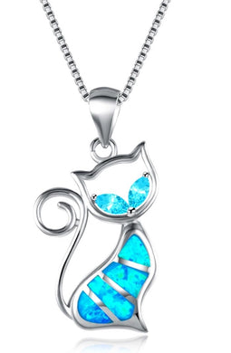 Cat Necklace Blue Fire Opal