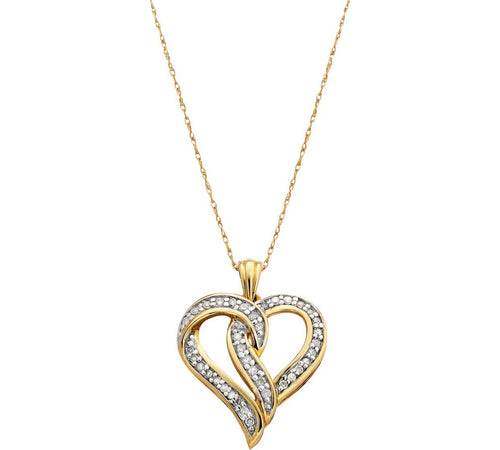 9ct Gold necklace 0.25ct Diamond Heart Pendant