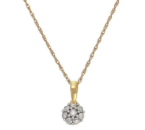 9ct Gold necklace 0.25ct Diamond Cluster Pendant
