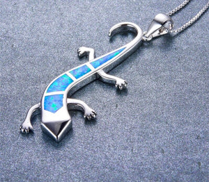 Sliver lizard necklace Blue/White/Orange Opal