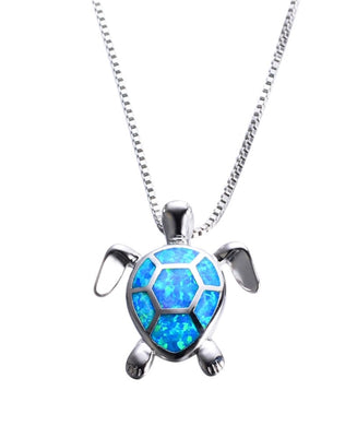 Beautiful Blue Opal Turtle Necklace