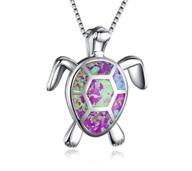 Beautiful Purple Fire Opal Turtle Necklace