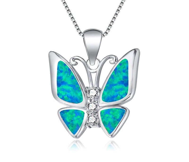 Butterfly Blue/White Opal sliver necklace