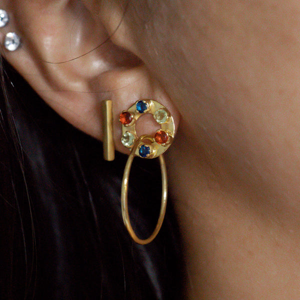 Infinity Multi Stone Hoop Earrings