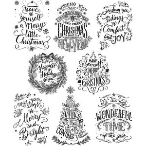 "Tim Holtz Cling Stamps 7""X8.5"" - Doodle Greetings"