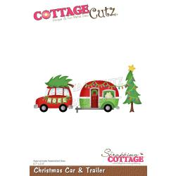 "Christmas Car & Trailer, 5.7""X2.5"""