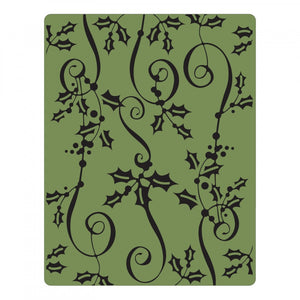 Sizzix Texture Fades Embossing Folder - Holly Ribbon