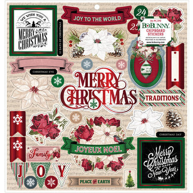 12X12 Chipboard Stickers, Joyful Christmas
