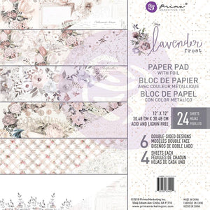 "Lavender Frost - Prima Marketing Double-Sided Paper Pad 12""X12"" 24/Pkg - 6 Foiled Designs/4 Each"