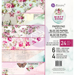 "Misty Rose - Prima Marketing Double-Sided Paper Pad 12""X12"" 24/Pkg - 6 Foiled Designs/4 Each"