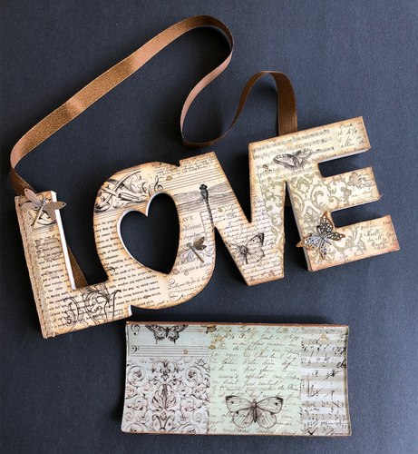 Class 8 - Title: Mixed Media Wooden Love Sign and Matching Glass Plate with Rice Paper
