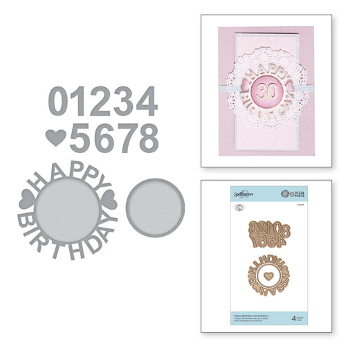 SHAPEABILITIES HAPPY BIRTHDAY W/NUMBERS -  ETCHED DIES SPECIAL MOMENTS COLLECTION BY MARISA JOB