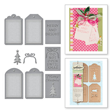 HOLIDAY CHRISTMAS TAG SET ETCHED DIES