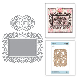 SWIRL HAPPY BIRTHDAY FRAME -  ETCHED DIES BY MARISA JOB