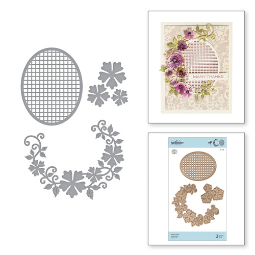 SHAPEABILITIES FLORAL OVAL,  ETCHED DIES  BY MARISA JOB - Christmas