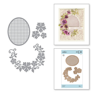 FLORAL OVAL,  ETCHED DIES  BY MARISA JOB - Christmas