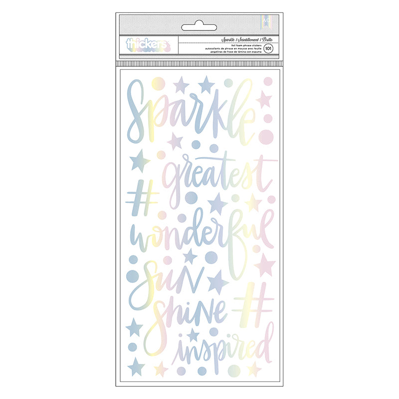 American Crafts - Sparkle City Collection - Thickers - Foam with Foil Accents - Phrase and Icon - Sparkle