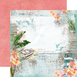 12X12 Patterned Paper, Simple Vintage Coastal - Beach Vibes