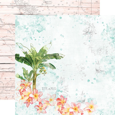 12X12 Patterned Paper, Simple Vintage Coastal - Paradise Found