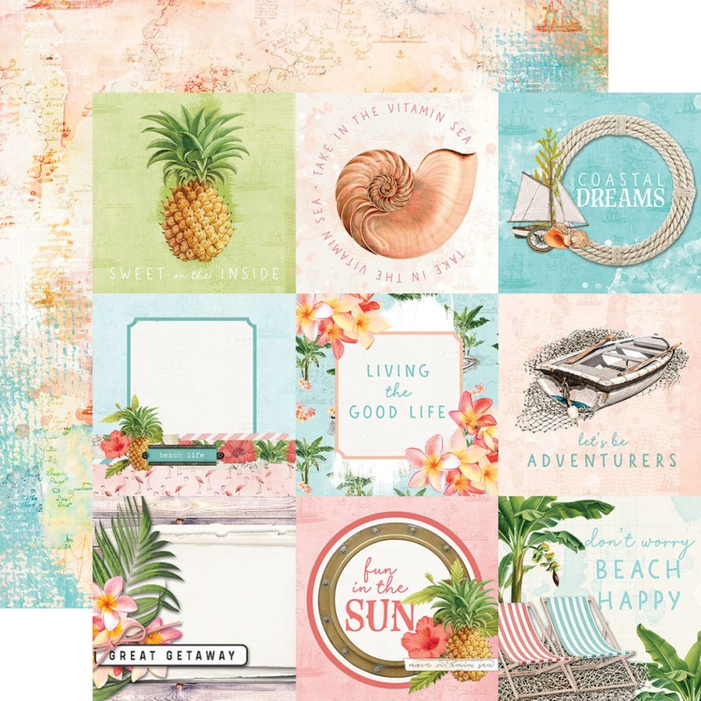 12X12 Patterned Paper, Simple Vintage Coastal - 4x4 Elements