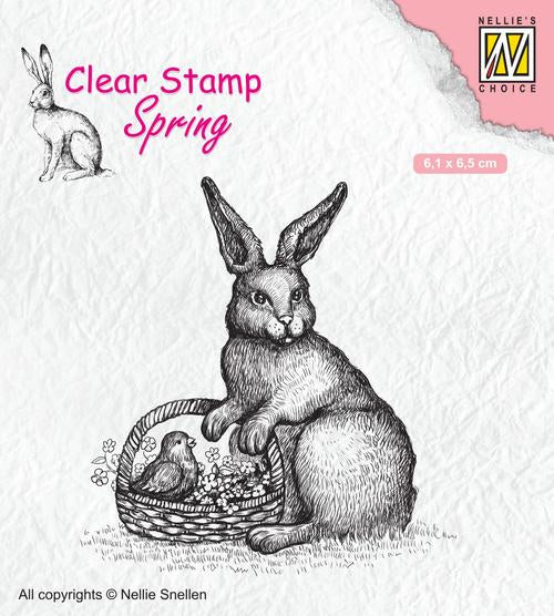 Clear Stamp Spring Easter Hare with Basket