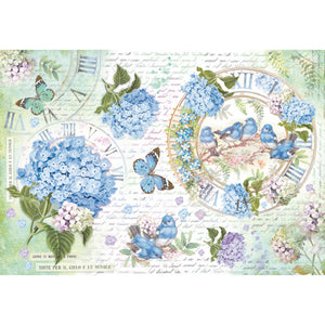 Rice Paper, Hydrangea and Birds