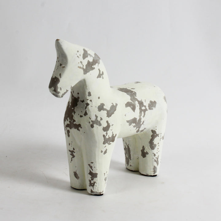 Distressed White Horse - Large