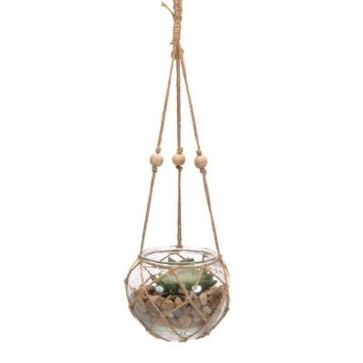 Round Macrame Glass Planter - Large